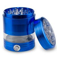 alüminyum baharat değirmeni toptan satış-2.5 Inç Alüminyum LED Herb Öğütücü 5 Parça Baharat Mill Kırıcı Ücretsiz Kargo
