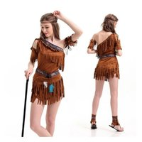 Wholesale Native Indian Costumes - Halloween costume Ladies Pocahontas Native American Indian Wild West Fancy Dress Sexy Halloween Party Indian Princess Costumes Outfit Fancy