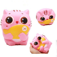 Wholesale Fish Cakes - 20pcs lot 12CM Jumbo Kawaii Squishy Kitty Cat Hold Fish Soft Cute Animal Slow Rising Bread Cake Sweet Scented Kid Xmas Toys Gift