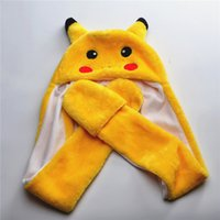 Wholesale Wholesale Animal Skulls - Pikachu Beanie Winter hats Plush Caps For Boy and Grils Poken Go Cute Cartoon Plush Animal Pikachu hats