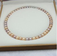 Classic 8-9mm White Pink Purple Mix Cor Natural Pearl Necklace 18 Inch 925 Silver Clasp