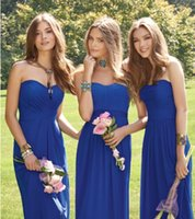 Wholesale Tier Silver Plate - Strapless Bridesmaid Dresses Cheap 2016 Chiffon Strapless Plated A Line Floor Length Summer Beach Maid Of Honor Gowns Royal Blue Dresses