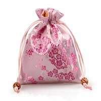 Wholesale Silk Cloth Drawstring Bags - Elegant Cherry blossoms Small Gift Bag Drawstring Silk brocade Jewelry Storage Bags Cloth Packaging Pouch Coin Pocket with Lined 11 x 14 cm