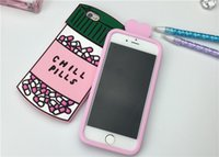 Wholesale Pill Pouches - For iphone 6 Case love potion chill pills 3D Cartoon Soft Silicone Case Cover For iphone SE 5 5s 6 6s 6 6s Plus Back Cover