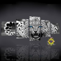 Wholesale Family Articles - 5 article black and white leopard modern family wall decoration painting art pictures hd print painting group 5 each canvas art without bord