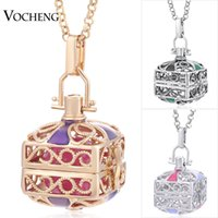 Wholesale Cz Pendants Rhodium Plated - Engelsrufer Interchangeable Jewelry 3 Colors Inlaid CZ Stone Copper Metal Square Pendant Necklace with Stainless Steel Chain VOCHENG VA-238