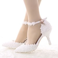 Wholesale shoes wedding middle for sale - 2016 White Lace Flower Bride Dress Shoes Pointed Toe Stiletto Middle Heel Wedding Party Shoes with Ankle Strap Bridesmaid Pumps
