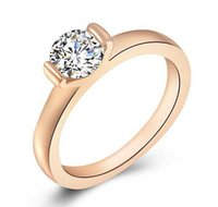 Wholesale Engage Rings - Wholesale And Retail Women Round Zircon Ring With Simple Style Gold Rings Engage Wedding Rings
