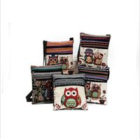 Wholesale owl single shoulder handbag - Owl Print Messenger Bags Cartoon Cute Double Zipper Mini Flap Shoulder Handbags Women Small Shoulder Bags OOA2407