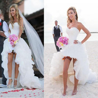 Wholesale Cheap Wedding Dresses Corset Style - Lastest Look of the New Style Hi-Low Simple Corset Sweetheart Chiffon Beach Wedding Dresses Cheap Sexy Bridal Gown