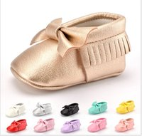 Wholesale Girls Summer Bottoms - 13 Colors 2016 New Baby First Walker Shoes Tassels Bowknot Infant Boy Girl Soft Bottom Shoes Toddler Fashion Cotton Shoes 6pairs lot