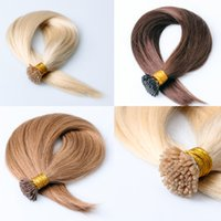 Wholesale Cheap Pre Bonded Remy Hair - I Tip Hair Extensions Unprocessed 8A Brazilian Pre Bonded Hair Extensions Weft Remy 1g Strand Cheap I Tip Hair