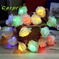 Wholesale flower led light chain - Wholesale- Super 2.2M 20LED Simulation Of Roses Flowers String Lights Chains Decoration Chain 170105