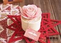 Wholesale Jewelry Boxes Favors - 1 pcs Pink Rose Jewelry Gift Boxes Wedding Favors Candy Box