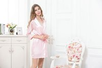 Wholesale Set Bathrobe Women - Wholesale-3 Pieces Set Femme Robe Sexy Sleepwear Set Women Silk Robes Bathrobe Pijama Nightgown