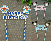Wholesale Straw Flags - Happy birthday flag with paper straw cupcake cake topper birthday cake accessories party supplies