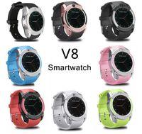 ingrosso vigilanza astuta del v8 del bluetooth-V8 Smartwatch Bluetooth Smart Watch con fotocamera da 0,3 M SIM e scheda TF Orologio per sistema Android Smartphone in scatola