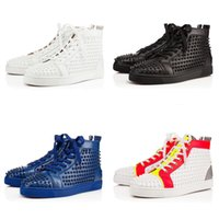 [Original Box] Chaussures New Men Shoes Chaussures Red Bottom Sneaker Luxury Party, cuir véritable Louisfalt Spikes Lace-up Black White Casual Shoes