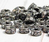 BULK LOTS 50 PCS Gun Black Metal avec cristaux transparents Rondelle Rhinestone Beads Spacer Findings pour la fabrication de bijoux en 6mm