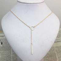 Wholesale Cheap Lariat Necklaces - SALE Star Jewelry 1pc New Hot Unique Charming Gold Tone Bar Circle Lariat Necklace Womens Chain Jewelry Gift Cheap Drop Free