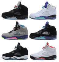Wholesale Men High Shoes Air - High Quality Retro 5 Bull Black Metallic White Grape Men Basketball Shoes 5s Bel Air Black Grape Oreo CNY Sneakers With Shoes Box
