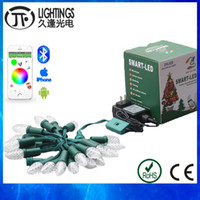 Wholesale C9 Led String - Wholesale- 10 sets LED Christmas lights string outdoor Addressable WS2811 DC12V pixel Module 25nodes strand C7 C9 via Bluetooth APP IP68