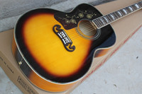 guitarras acústicas canhotas venda por atacado-Left Handed Custom Shop Sunburst Top Spurce Maple Voltar Lados Guitarra acústica pode ser Intalled com Fishman 101/301 EQ Frete Grátis