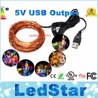 Wholesale wire garland decorations - 10M 33FT 100 led USB Outdoor Led Copper Wire String Lights Or Christmas Festival Wedding Party Garland Decoration Fairy Lights