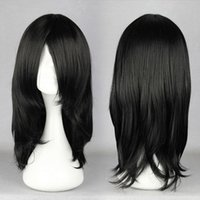 "Wholesale Neji Figure - Wholesale-Natural 17"" Black Wig For Anime Naruto Cosplay Figure Hyuga Neji Orochimaru synthetic Costume Wig"