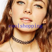 Wholesale Cheapest Tattoo - 2016 collares Vintage Stretch Tattoo Choker Necklace Retro Gothic Elastic collier femme Cheap Necklaces for women girl bijoux