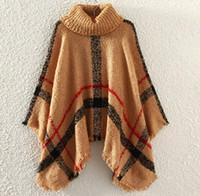 Wholesale girls cloaks - New Autumn Winter woman big girls classic plaid cloak High collar shawl Poncho fashion Loose plaid Bat shawl 28 colors DHL C1549