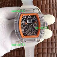 relógios de esporte venda por atacado-Plexiglass transparente de moda ETA 7750 RM011 Felipe Massa Flyback Relógios automáticos ocasionais de cronógrafo Relógio de pulso de borracha masculina para homem