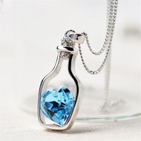 Wholesale fashion drift - Wholesale-Creative Women Fashion Necklace Ladies Popular Style Love Drift Bottles Pendant Necklace Blue Heart Crystal Pendant Necklace