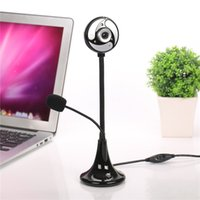 Wholesale Mega Wholesale China - New Design 360 Degree USB 2.0 HD CMOS Webcam Camera LED lights Web Cam & MIC for Computer PC Laptop
