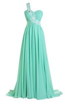 Wholesale Green Chiffon One Shoulder Dress - Real Pictures 2016 Exquisite One Shoulder Mint Green Long Chiffon Evening Dress Backless A-line Vestido Longo Formal Pageant