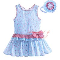 Wholesale G Wholesale Kids Clothing - Pettigirl Summer Newest Boutique Girls Florals Dresses With Hairbands Kids Wathet Blue Tank Wear Striped Bow Baby Clothes G-DMGD907-778