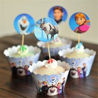 Wholesale Cupcake Wrappers For Sale - Wholesale- Hot sale Snow queen elsa anna for girls birthday party decoration supplies 12 pcs wrappers+12pcs toppers paper cupcake festival