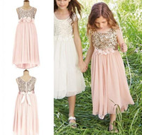 Wholesale Dress Bridesmaid Kids White - Blush Flower Girls Dresses Gold Sequins Hand Made Flower Sash Tea Length Tulle Jewel A Line Kids Formal Dress2016 Junior Bridesmaid Dress
