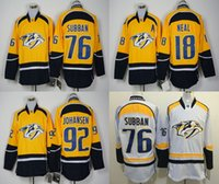 Wholesale Cheap Athletic Shirts - Men's Nashville Predators #76 PK Subban Gold Home Premier Jersey Top Quality Hockey Jerseys Embroidered Hockey Shirts Cheap Athletic Apparel