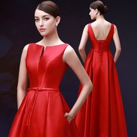 Wholesale Royal Blue Large Size Dresses - The new red V-neck Bridesmaid Dress waist put on a large bow long Party Evening Gown 2016 formal Bridesmaid Dresses plus size