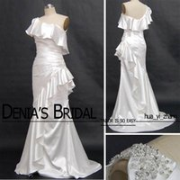 Wholesale photo image art online - 2016 Evening Dresses Beaded Appliqued One Shoulder Ruffle Neckline Real images Sweep Train Mermaid Evening Gowns