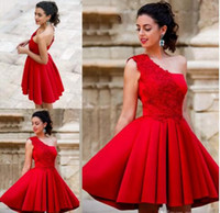 Wholesale One Shoulder Sweet Pleated Party - 2017 New Arrival Red Mini Short A Line Homecoming Dresses One Shoulder Beautiful Satin Graduation Party Dresses Sweet 16 Dresses