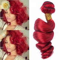 Wholesale Hair Weave Red Curly - Hot Sale 100% unprocessed 8A Malaysian Red Human Hair Extensions Loose Wave Curly 3 Bundles Lot Mixed Length 10-30''