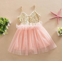 Europe Fashion Girls Sequins Robe Kids Ruffles Dentelle Tulle Tutu Party Dress Enfant Vêtements Princess Ball Gown Suspender Strap Robes