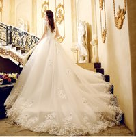 Wholesale Wedding Dresses Embroidered Shoulders - 2016 Empire Wedding Dresses With Crystal Hand Made Flower Organza Backless Bateau Court Train Bridal Gowns