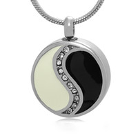 Wholesale Yin Yang Bag - Yin Yang Round Crystal Cremation Urn Jewelry Ashes Necklace Memorial Pendant with Gift Bag and Funnel
