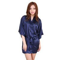 Wholesale Sexy Silk Robe Styles - Wholesale-Navy blue 2016 Short Style Women's Silk satin Robe Gown Kimono Gown Wedding Party Bridesmaid Robe size S M L XL XXL XXXL