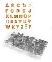 molde de letras del alfabeto al por mayor-26 unids / set torta de la galleta de la galleta de DIY letras del cortador forma del alfabeto molde cortador de pastel de la galleta de la galleta del molde
