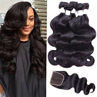 "Wholesale Brazilian Virgin Thick - Virgin Hair Weaving with 4X4 closure 4 Piece Peruvian Body Wave 100% Unprocessed Human Hair Weft Thick Bundles 10""- 30"" Shipping Free"
