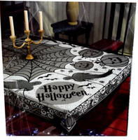 Barato Poliéster De Pano Grossista-Black Poliéster Halloween Tablecloth Tablecover Festiva Partido Supplies 60 * 80inch Lace Spider Web Rectangle panos de mesa Atacado